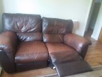 Brown Leather 2 Seater Recliner £70 (Collection Only)