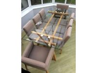 Habitat Glass Dining Table and 8 Grey Made Chairs