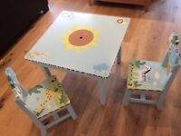 Children's Play Table & Two Matching Chairs