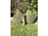 Two Green Crushed Silk Cushions and Green Vase T-Light