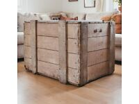 Large Rustic Wooden Chest, Coffee Table, Storage Trunk, Vintage