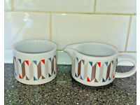 Sugar bowl + Milk Jug geometric pattern blue white