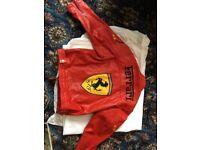 Ferrari real leather jacket and helmet