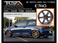 "18"" Rota Grid on tyres for a Golf MK5 MK6 MK7 Jetta Caddy ETC"