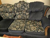 Blue velour 3 piece suite with reversible cusions 3 seater sofa and 2 chairs