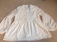 White chiffon lace top-size 12