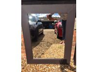 Brown faux leather mirror 1 of 2