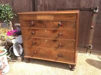 Large antique regency wooden chest of drawers