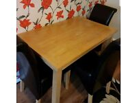 Oak Veneer Dining Table & 4 Leather Chairs FREE DELIVERY 891