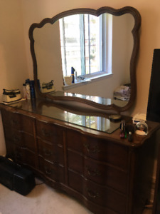 Solid wood bedroom set in good condition