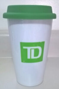 TD Bank Doudle Wall Ceramic Travel Mug With Green Silicone Lid