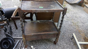 2chairs and a rolling service cart antique