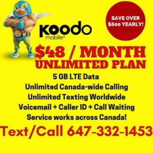 Koodo 6GB LTE DATA Plan • UNLIMITED • $49/Month NO CONTRACT!