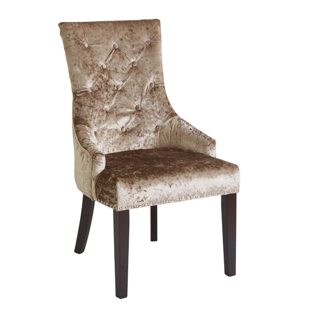 Louis Champagne Mink Fabric Dining Chair With Knocker From Housing Unit NEW