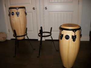 """10"""" AND 11"""" CONGAS W/STANDS AND CASES"""