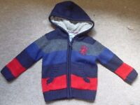 boys knitted lined hoodie/jacket/coat 3-4 years