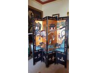 oriental screen, room divider, heavily carved detail predominant in gold
