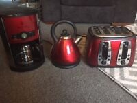 Matching Russell Hobbs Kettle, Toaster and Filter coffee machine in RED