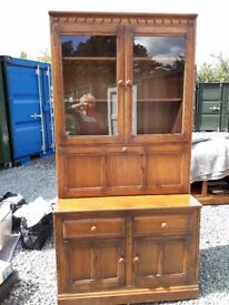 Ercol Solid Beech, drinks/books/display unit, good condition glazed doors, £200 reduced