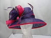 Louise Oliver hat & bag to match in purple and fuchsia trim