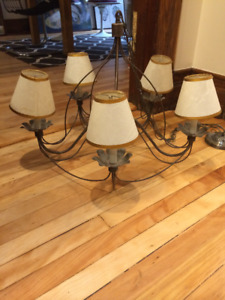 Vintage 5 light chandelier with shades