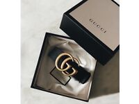 GG Leather Buckle Belt Gold - Gucci