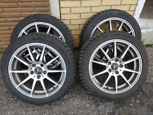 """Set of 4 17"""" 5 x 112 Mags & Altenzo Winter Tires 225 45 R17"""