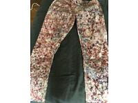 """Next"" Pink Floral Chinos vgc"