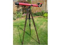 Tasco 320 x 60 mm 49TE telescope and Adjustable height tripod, Red,