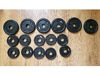 Loose weight plates for dumb bell bar bell 6 x 1.25 KG 10 x 0.5 KG Black