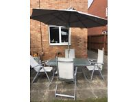 outdoor table and chair with umbrella set patio shade