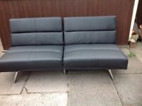 Black faux leather sofa bed double