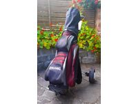 Spalding Top Flite Golf Bag with Golf Trolley and 10 Golf Clubs