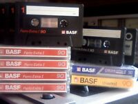 BASF BLANK CASSETTE TAPES x12 VARIOUS SWITCH TYPES & LENGTHS, USED.