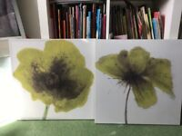 Lovely set of 2 Dunelm canvas wall art pictures with green flower prints