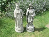 pair of stone/concrete king and queen garden statues/ornaments