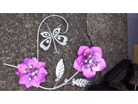 Home Decor wall Canvas Frame decoration Flower Metal Jewel Vase 3 designs