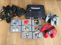 Nintendo 64 N64 with 8 Games & Add Ons