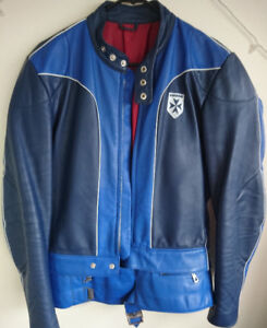 Vintage German 2 pcs blue leather motorcycle suit