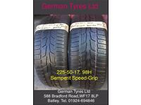 225-50-17 / 225-50 R17 Semperit Part Worn Tyres 5mm+ Tread, Great Condition