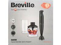 Breville Hand Blender And Chopper, 500 Watt, Black, VHB067