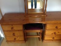 Chest of drawers, dressing table mirror and stool, 2 bedside cupboards
