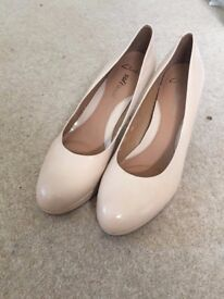 "Clarks Nude Court Shoes, Size 7 with 3"" heel"
