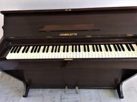 Consolette upright piano and piano stool in good condition