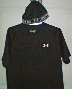 Under Armour HeatGear Loose T Shirt Size Medium and Skull Cap