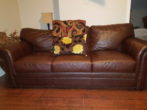 Leather couch, 2 chairs and Ottoman