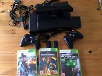 Xbox 360 Console (3GB plus 320GB external hard drive) & Kinect & 3 games - Good condition