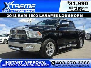 2012 DODGE RAM 1500 LONGHORN *INSTANT APPROVAL* $0 DOWN $249/BW