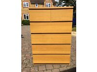 Ikea Malm Chest Of 6 Drawers finished in Oak Veneer Good Condition £20