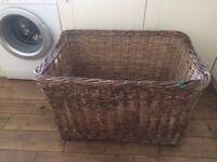 Vintage large laundry wicker basket